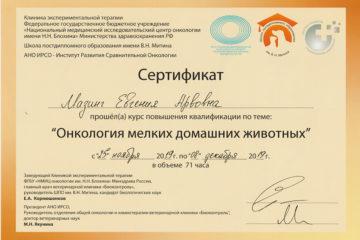 Сертификат Мазинг Евгения Арвовна